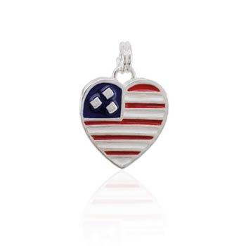 Flag Heart Silver Charm