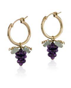Amethyst Grape Hoop Earrings - Gold Filled