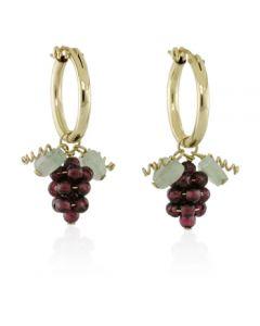 Garnet Grape Hoop Earrings - Gold Filled
