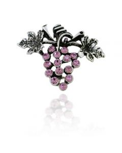 Antiqued Silver Grape Brooch