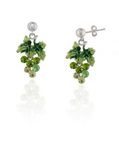 Moving Grape Earrings Green Crystal and Enamel