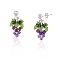 Moving Crystal Grape Earrings