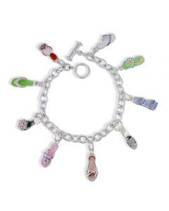 Sterling Silver Enamel Shoe Charm Bracelet