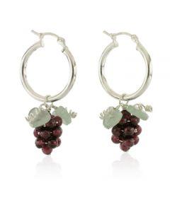 Garnet Grape Hoop Earrings - Sterling Silver