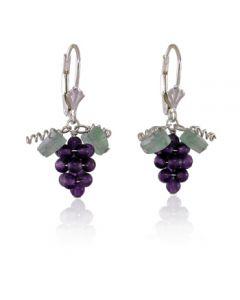 Amethyst Grape Leverback Earrings - Sterling Silver