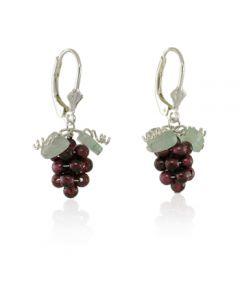 Garnet Grape Leverback Earrings - Sterling Silver