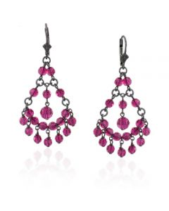 Victorian Fuchsia Swarovski Crystal Small Chandelier Earrings