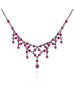 Victorian Fuchsia Swarovski Crystal Bib Necklace