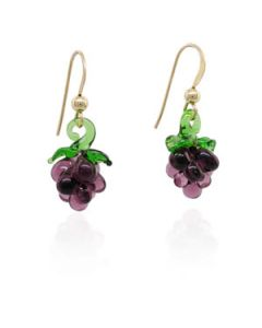 Hand Blown Glass Small Grape Earrings