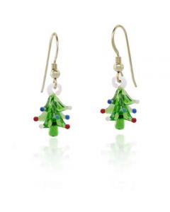 Hand Blown Glass Christmas Tree Earrings
